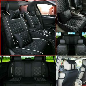 Deluxe PU Leather 5-Seat Car Seat Covers Car Interior Full Cushion Set Universal