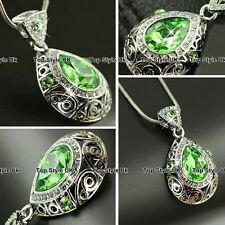 Peridot Necklace Diamond Pendant Birthday Xmas Gifts for Her Women Mum Wife G7