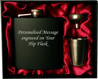 Engraved Steel HIP FLASK black 6oz in gift box with funnel & 4 shots, red liner
