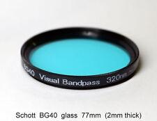 "Schott BG40 77mm UV/IR Cut Filter, Visual Bandpass, IR Suppression, ""Hot Mirror"""