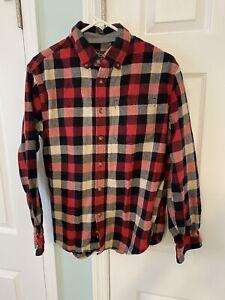 Eddie Bauer Flannel Shirt Mens Large Plaid Lumberjack Button Down Cotton