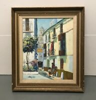 Vintage Paris Street Scene Horse Carriage Signed Oil Painting On Canvas