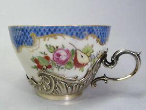 (G3681) Höchst Tasse, Blumen- und Schuppen Dekor,Silber ( Mankielewicz Warschau