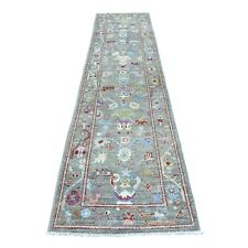 """2'8""""x11'7& #034; Angora Oushak With Soft Velvety Wool Hand Knotted Runner Rug R54432"""