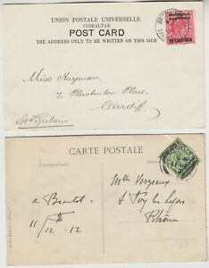 MOROCCO 1907/12 2x picture post cards TANGIER-CARDIFF & TANGIER-RHONE GERMANY