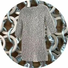 """MEDIEVAL Chain mail Aluminium Round Riveted Full Sleeve Chainmail 55"""" Chest"""