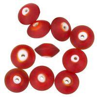 A97//4 Handmade Donut Shape Matte Yellow Glass Beads 16mm Pack of 10