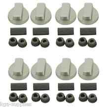 8 X UNIVERSAL Chrome Oven Knob Silver Gas Hob Cooker Control Knobs + Adaptors