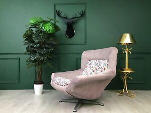 Pink Velvet Vintage Retro Mid Century Egg chair Armchair