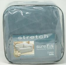 Sure Fit Stretch Pinstripe 2-Piece Sofa Slipcover - French Blue