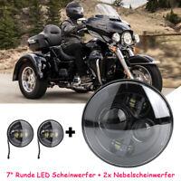7'' Zoll LED Motorrad Hauptscheinwerfer+4.5 Nebelscheinwerfer Für Harley Schwarz