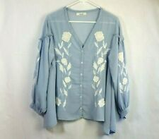Snidel One Size Light Blue Embroidered Long Sleeve Chiffon Button Front Blouse