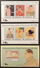 3 MICRONESIA JAPANESE ART STAMPS SHEETS 2001 MNH PHILA NIPPON '01 UKIYO-E PRINTS