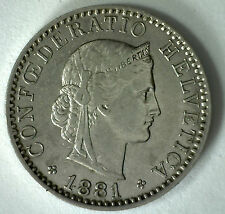 1881 Switzerland 20 Rappen Swiss Helvetia Nickel 20 Cent Coin XF
