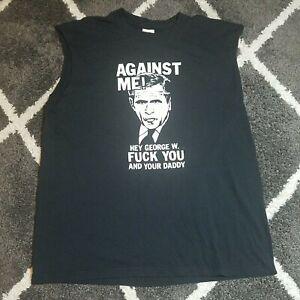 Vintage AGAINST ME! George W Bush T-Shirt Large Laura Jane Grace Punk Sleeveless
