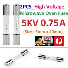 2PCS Microwave Oven High Voltage Glass Fuse  5KV 0.75A (750mA)  6mm x 40mm