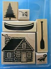 Stampin' Up CABIN Definitely Decorative Rubber Stamps CANOE PADDLE Pine SKUNK