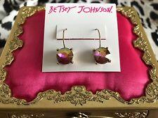 Betsey Johnson Calypso Fuchsia Pink AB Rhinestone Jewel Partial Hoop Earrings