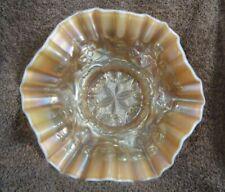 Dugan Glass Co. Peach Opalescent SIX PETALS Pattern 7-1/2in. Carnival Glass Bowl