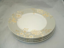"Bella Lux GRACE Set of 4-10 3/4"" Dinner Plates Gold Floral Matte Taupe Rim EC"