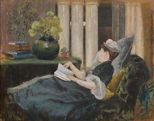 Tiffany Comfort Louis Louise Tiffany Reading Canvas 16 x 20   #7116
