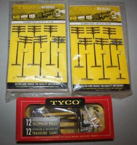 VINTAGE TYCO HO ACCESSORIES: TELEGRAPH, TELEPHONE POLES, TRACKSIDE SIGNS - NOS