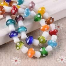 10pcs 10x13mm Mixed Lampwork Glass Mushroom Loose Beads Jewelry Findings Making