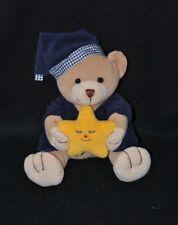 Peluche doudou ours JOLLYBABY bleu étoile jaune grelot 15 cm assis TTBE