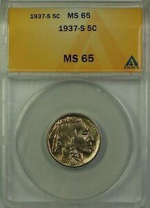 1937-S Buffalo Nickel 5c Coin ANACS MS-65 Better Coin