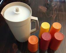 Vintage Tupperware Pitcher 2 qt with 5 Tumblers Cups Harvest Colors RETRO