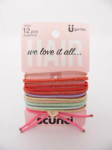 Scunci 12 Pieces Elastics Hair Tie Set - Multi-Colored Glitter 12321