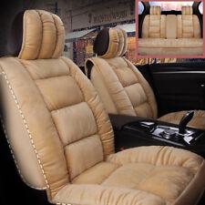 3D Plush Beige Warm Winter Car Seat Cushion Covers Full Set Cloud Silk Cotton