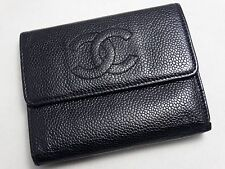 Authentic CHANEL WALLET BLACK CAVIAR LEATHER COCO PURSE ITALY TRI FOLD US SELLER
