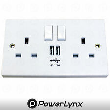 2 Way UK Mains Power Socket FAST USB Charging Ports Connection Wall Plate Plug