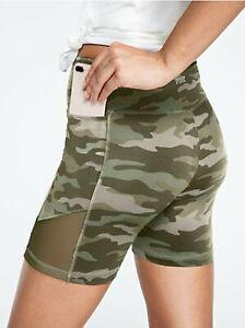 Victoria's Secret Pink Bike Short High waist Camo green with side pockets Sz S