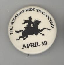 PATRIOTS DAY Pinback PIN Button BADGE Paul Revere Midnight Ride Boston Concord