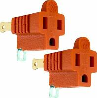 2 PACK Ground Plug Adapter 3 Prong to 2 AC Electrical Outlet Grounding Polarized