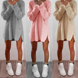 Damen Strick Pullover Pulli Tunika Oberteil Shirt Tuniken Longsleeve Kleid KG2