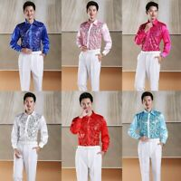 Men Shiny Silk Feel Sequin Shirt Blouse TopsStage Party Wet Look Fashion Casual