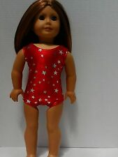 """Red Silver Stars Leotard fits American Girl 18"""" doll clothes Gymnastics"""