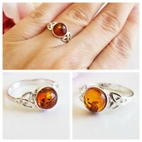 BALTIC AMBER 100% 925 STERLING SILVER RING CELTIC NATURAL Honey Amber  2g SZ 7.5