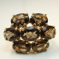 8.8ct Large Smoky Quartz Womens Cluster Ring - Solid 9ct Gold