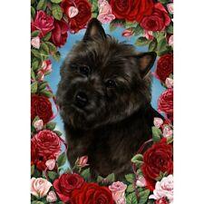 Roses House Flag - Black Cairn Terrier 19327