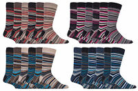 Sock Snob - 6 Pack Mens Cotton Colorful Striped Fashion Dress Crew Socks 7-12 US