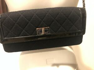 Authentic Chanel black chain quilted East West Flap bag!!! CAMDAY