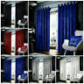 Heavy Blackout Crushed Velvet Curtains PAIR of Eyelet Ring Top Fully Lined Ready