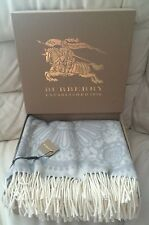 BURBERRY PALE GREY WHITE LACE BLANKET WOOL/CASHMERE BNWT MADE IN ITALY