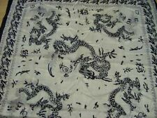 100% Silk Scarf Wall Hanging 40 x 40in Black & White Dragon with Dragon Border