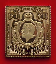 Gold plated Silver Stamp Ingot 20.69g Danbury Mint Leeward Islands £1 KGV KG5