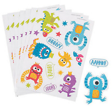 Pack of 12 - Cute Monster Sticker Sheets - Great Party Bag Fillers